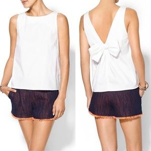 Red Valentino White Poplin Bow Tank Sz 40